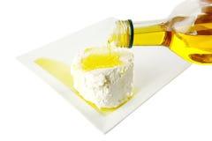 Queijo macio branco com petróleo foto de stock royalty free