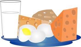 Queijo, ovos e leite Imagem de Stock