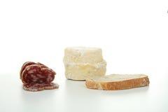 Queijo, pão e salsicha Imagens de Stock