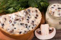 Queijo processado dos cogumelos Fotografia de Stock Royalty Free