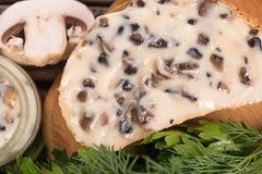 Queijo processado dos cogumelos Imagens de Stock