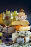 Queijo, vinho e frutos Fotografia de Stock