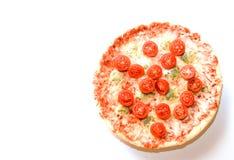 Queijos da pizza quatro com copyspace dos tomates de cereja Imagens de Stock Royalty Free