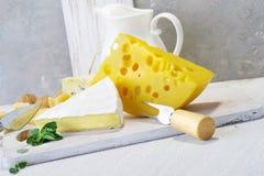 Queijos e leite em uma placa idosa clara Vista rústica Imagem de Stock Royalty Free