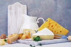 Queijos e leite em uma placa idosa clara Vista rústica Imagens de Stock