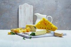 Queijos e leite em uma placa idosa clara Vista rústica Fotos de Stock Royalty Free