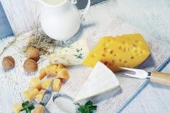 Queijos e leite em uma placa idosa clara Vista rústica Imagens de Stock Royalty Free