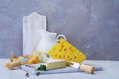 Queijos e leite em uma placa idosa clara Vista rústica Fotos de Stock