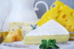 Queijos e leite em uma placa idosa clara Vista rústica Close-up Fotos de Stock Royalty Free