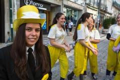 Queima das Fitas的参加者-是一些葡萄牙大学的学生的一个传统庆祝 免版税库存图片