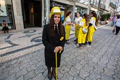 Queima das Fitas的参加者-是一些葡萄牙大学的学生的一个传统庆祝 免版税库存照片