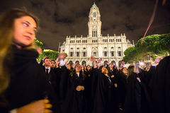 During the Queima das Fitas - is a traditional festivity of the students of some Portuguese universities. PORTO, PORTUGAL - MAY 7, 2017: During the Queima das Stock Image