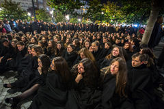 During the Queima das Fitas - is a traditional festivity of the students of some Portuguese universities. PORTO, PORTUGAL - MAY 7, 2017: During the Queima das Stock Photos
