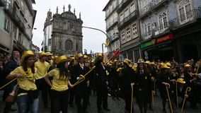 During the Queima das Fitas - is a traditional festivity of the students of some Portuguese universities. PORTO, PORTUGAL - MAY 7, 2017: During the Queima das stock video