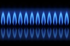 Queimador da bandeira com gás natural das chamas no fundo preto ilustração royalty free