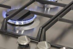 Queimador de gás da flama no hob do gás Fotografia de Stock Royalty Free