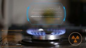 Queimador de gás na operação animation Indústria do gás Indicação digital filme