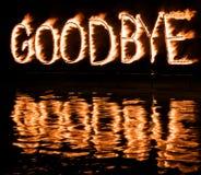 Queimadura adeus! fotografia de stock