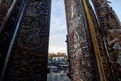 Queimadura buddha cinzelado madeira Fotos de Stock Royalty Free