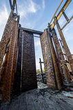 Queimadura buddha cinzelado madeira Fotografia de Stock