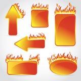 Queimadura com etiquetas e etiquetas da venda do projeto do fogo Fotos de Stock