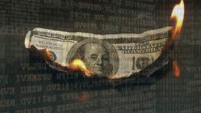 Queimadura da nota de dólar video estoque
