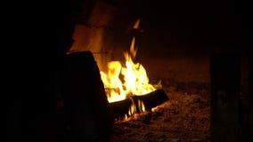 Queimadura de madeira dentro de um forno de pedra vídeos de arquivo