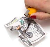 Queimadura de 100 USD Imagem de Stock
