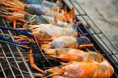 Queimadura do camarão do rio na grade Imagens de Stock