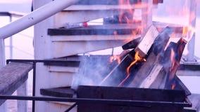 Queimar-se entra chamas chamejadas da chaminé video estoque