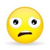 Quel emoji Émotion de choc Émoticône de Wtf Type de dessin animé Icône de sourire d'illustration de vecteur Photo stock