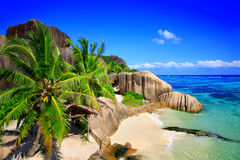 Quelld ` Argent Strand, Insel-La Digue Stockfotos