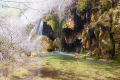 Quelle des Flusses Cuervo im Winter Stockfotos