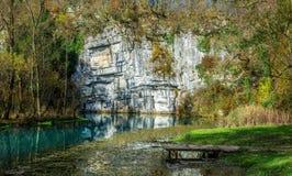 Quelle des Flusses Krupa Stockbilder