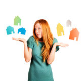 Quelle maison à choisir ? Photo stock