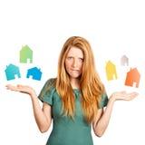 Quelle maison à choisir ? Photographie stock libre de droits