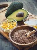 Quellen von Omega 3 Fettsäuren Stockfoto