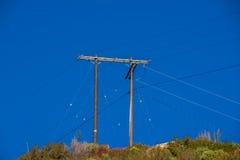 Quello e la sola linea elettrica a Crystal Lake Fotografie Stock Libere da Diritti