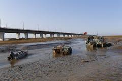 Quelque bateau de pêche simple amarré dans le marécage, accroché avec le drapeau chinois Images libres de droits