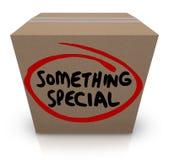 Quelque chose contenu unique en carton de boîte de la livraison spéciale de cadeau Photos stock