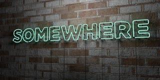 QUELQUE PART - Enseigne au néon rougeoyant sur le mur de maçonnerie - 3D a rendu l'illustration courante gratuite de redevance Image libre de droits