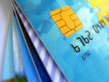 Quelques cartes de crédit Images libres de droits