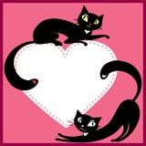 Quelques chats et coeur illustration de vecteur
