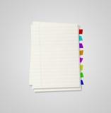 Quelques feuilles de cahier avec des signets Photo stock