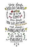 Quelques jours vous mangez des salades et allez au gymnase illustration stock