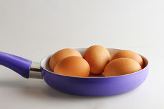 Oeufs sur la casserole, fond blanc d'isolement Photo stock