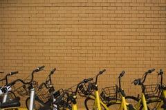 Quelques vélos se garant en dehors d'un mur de briques Photo stock