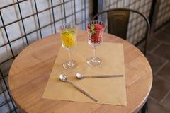 Quelques verres à vin en cristal chers complètement de crème glacée de fruit Sorbet coloré avec la menthe décorative sur treillag Photographie stock