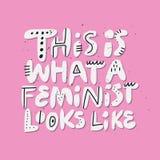 Quels ressembler féministes au dessin de citation de puissance de fille illustration libre de droits