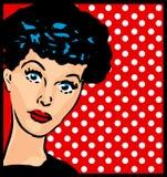 Quem é ele? clipart retro do vintage da face da mulher com fundo do ponto Fotografia de Stock Royalty Free